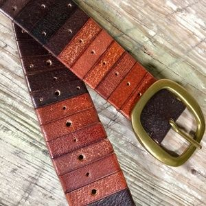 Lucky Brand Accessories - Lucky Brand leather belt distressed multi-brown 40